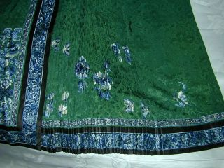 Antique BEST 19thC Chinese Embroidered Green Silk Damask Skirt - A, 3