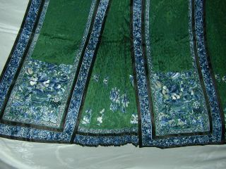 Antique BEST 19thC Chinese Embroidered Green Silk Damask Skirt - A, 4