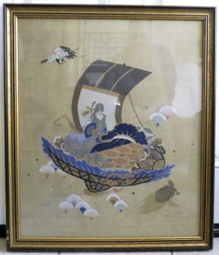 """Antique Chinese Kesi Embroidery Panel With Immortal,  Basket & Crane In 29 """" Frame"""