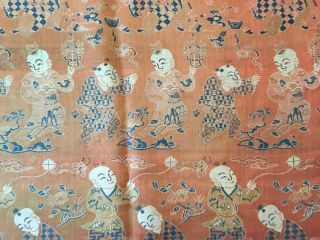 Antique Chinese Silk Hundred Boys Panel 10