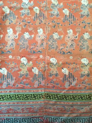 Antique Chinese Silk Hundred Boys Panel 11