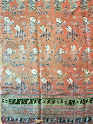 Antique Chinese Silk Hundred Boys Panel 3
