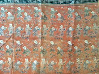Antique Chinese Silk Hundred Boys Panel 5