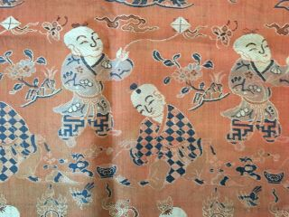 Antique Chinese Silk Hundred Boys Panel 6