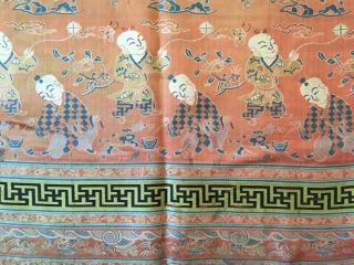 Antique Chinese Silk Hundred Boys Panel 8