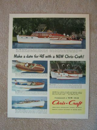 Vintage 1948 Chris - Craft Express Sportsmen Runabout Cruisers Boats Print Ad