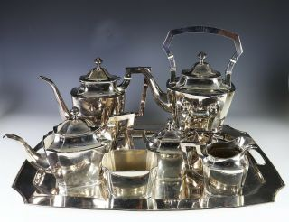 Impressive Large Antique Chinese Export Silver Tea Coffee Set With Tray - 187 Oz