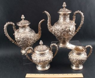 Antique S Kirk & Son Sterling Repousse Teaset Coffeepot Teapot Sugar Creamer