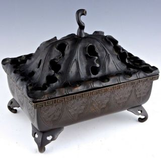 Old Chinese Bronze Footed Censer Bowl With Large Hardwood Lotus Lid