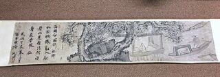 Large Old Chinese Scroll Painting Of Landscape With Writing