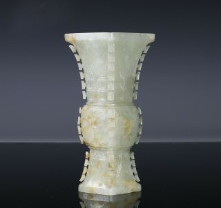 Antique Chinese Carved Nephrite Jade Gu Vase with Archaistic Design 2