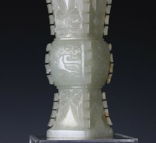 Antique Chinese Carved Nephrite Jade Gu Vase with Archaistic Design 3