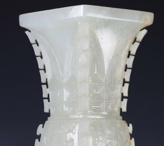 Antique Chinese Carved Nephrite Jade Gu Vase with Archaistic Design 8