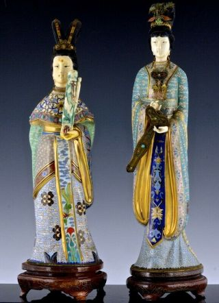 Pair Very Fine Chinese Cloisonne Enamel Gilt Bronze Imperial Attendant Figures