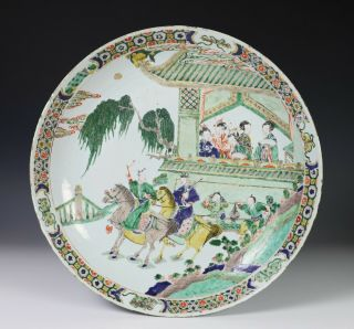 Large Antique Chinese Famille Verte Porcelain Charger Plate