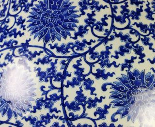 Massive Antique Chinese Blue and White Hu Form Porcelain Vase with Qianlong Mark 12