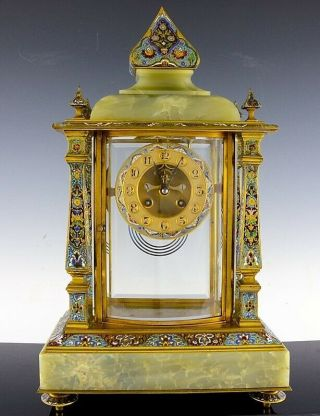 19thc French Champleve Cloisonne Enamel Gilt Bronze Mantle Table Clock
