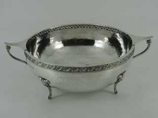 A E Jones Solid Sterling Silver Large Arts & Crafts Fruit Bowl Birmingham 1926