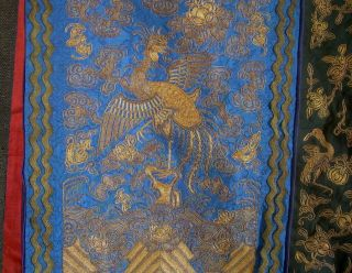 Antique Chinese Skirt DRAGON & CRANE Gold Metallic Silk Embroidery Textile 12