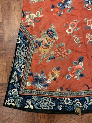 Chinese Qing Dynasty 19th Century Peking Embroidery Silk Red Robe 12