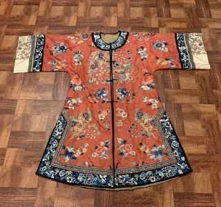 Chinese Qing Dynasty 19th Century Peking Embroidery Silk Red Robe