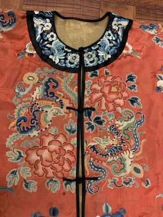 Chinese Qing Dynasty 19th Century Peking Embroidery Silk Red Robe 3