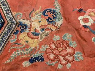 Chinese Qing Dynasty 19th Century Peking Embroidery Silk Red Robe 4