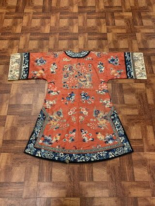 Chinese Qing Dynasty 19th Century Peking Embroidery Silk Red Robe 8