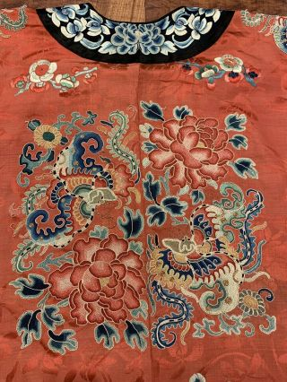 Chinese Qing Dynasty 19th Century Peking Embroidery Silk Red Robe 9