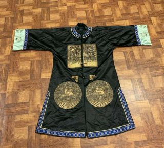Antique Chinese Qing Dynasty 19th Century Embroidery Silk Crane Rank Badge Robe
