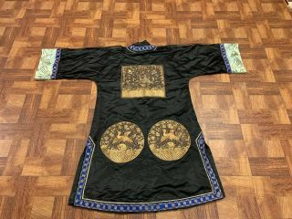 Antique Chinese Qing Dynasty 19th Century Embroidery Silk Crane Rank Badge Robe 3