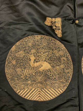 Antique Chinese Qing Dynasty 19th Century Embroidery Silk Crane Rank Badge Robe 4