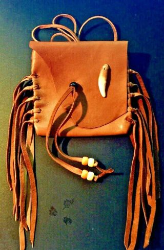 """"""" Coyote """" Handmade Lambskin Medicine Bag,  With Fringe And Pony Beads."""
