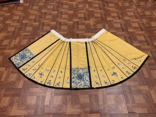 Antique Chinese Qing Dynasty 19th Century Embroidery Silk Yellow Skirt