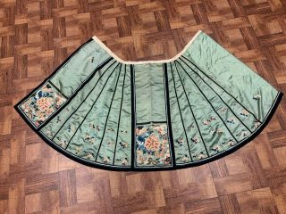 Antique Chinese Qing Dynasty 19th Century Embroidery Green Silk Skirt