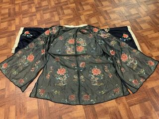 Antique Chinese Qing Dynasty 19th Century Embroidery Silk Robe 11