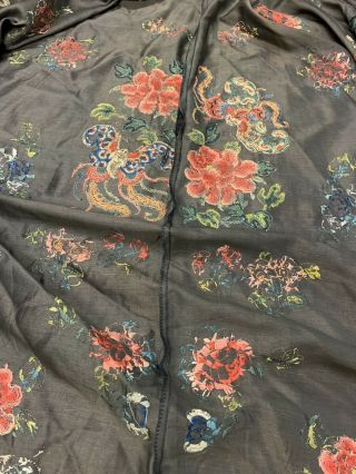 Antique Chinese Qing Dynasty 19th Century Embroidery Silk Robe 12