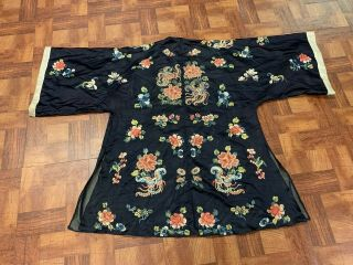Antique Chinese Qing Dynasty 19th Century Embroidery Silk Robe 2