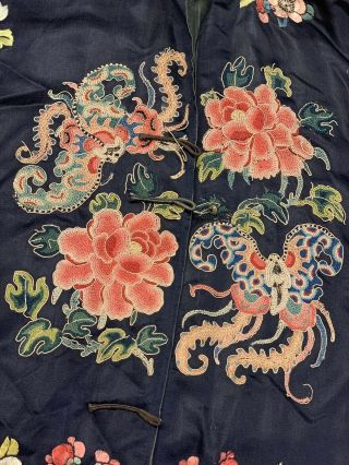 Antique Chinese Qing Dynasty 19th Century Embroidery Silk Robe 9