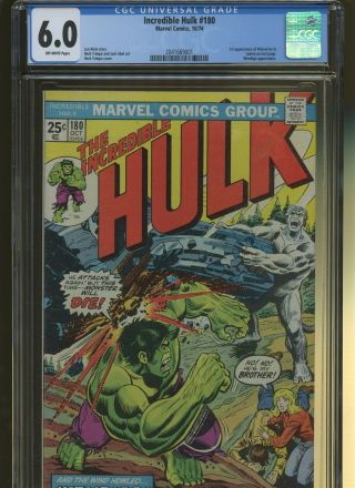 Incredible Hulk 180 Cgc 6.  0 | Marvel 1974 | 1st Wolverine (cameo).  Wendigo App.