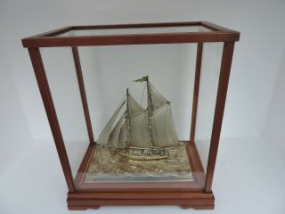 Fine H - Crafted Japanese Two Masted Solid Sterling Silver Model Ship Yacht Japan