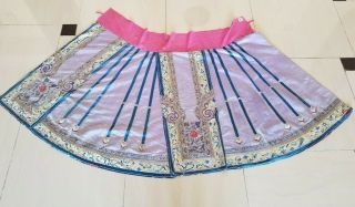 Antique Chinese Silk Hand Embroidered Skirt Panel (y19)