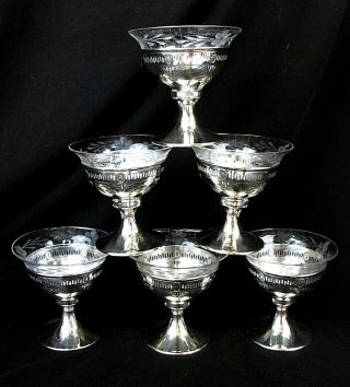 7 Wallace Sterling Sherbet,  Dessert,  Ice Cream Dishes W Cut Glass Liners C.  1920