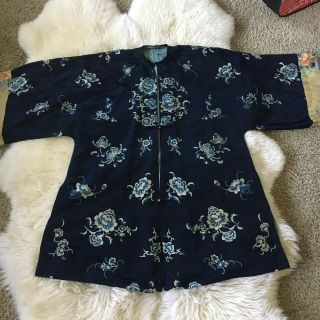 Antique Qing 19th C Chinese Silk Embroidery Woman's Robe Chifu Qipao Art Textile