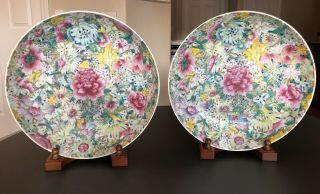 Pair Antique Chinese Famille Rose Hundreds Flowers Plates Chargers
