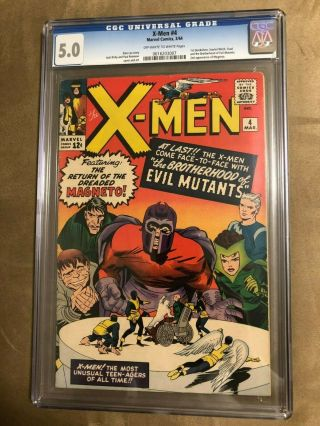 Marvel X - Men 4 Cgc 5.  0 Ow/w First Appearance Scarlet Witch Quicksilver