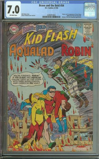 Brave And The Bold 54 Cgc 7.  0 Dc Comic Key 1st Teen Titans (unnamed)