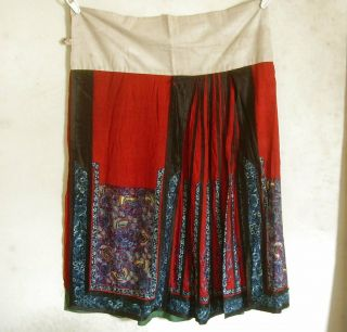 Antique Chinese Skirt Butterflys & Flowers Silk Embroidery Textile