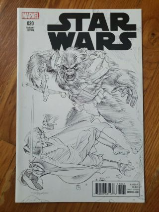 Star Wars 20 1:100 Mike Mayhew B&w Sketch Variant Cover Marvel Rare