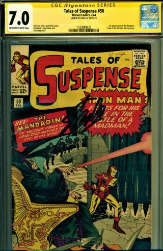 Tales Of Suspense 50 Cgc 7.  0 Ss Signed By Stan Lee 1st Mandarin Kirby Cover